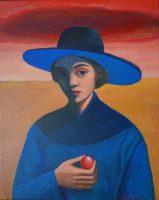 Katarzyna Karpowicz: Młoda dziewczyna w niebieskim kapeluszu
